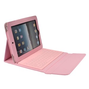 Case with Built-in Bluetooth Keyboard for iPad2,Leather Protective Wireless Bluetooth Querty Keyboard Case for iPad 2/3/4 - Pink