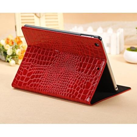 leather ipad air case,Luxury Crocodile Skin Pattern Leather Stand Case for iPad Air - Red