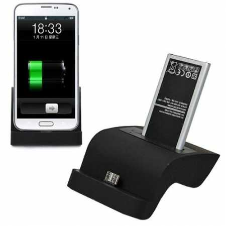 Desktop USB Sync Dual Phone & Battery Charger Dock for Samsung Galaxy S5