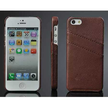 Litchi Genuine leather card holder hard back case cover for iPhone SE/5S/5 - Brown
