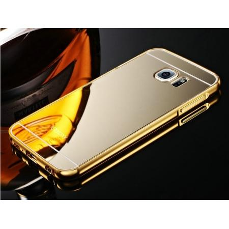 Aluminum Metal Bumper with Mirror Acrylic Plastic Back Cover for Samsung Galaxy S6 - Gold
