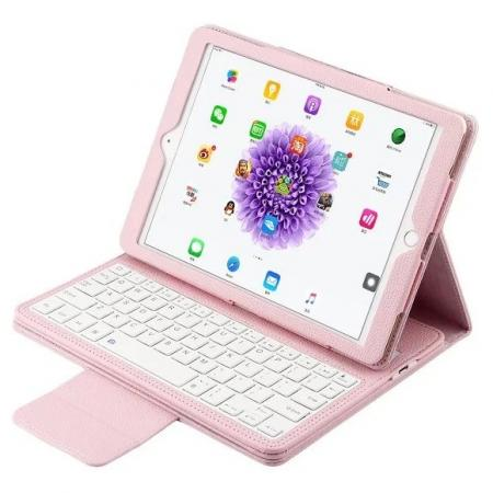 Detachable Wireless Bluetooth Keyboard PU Leather Case For 9.7-inch iPad Pro - Pink