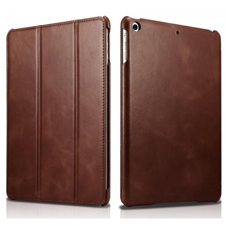 ICARER Vintage Series Genuine Leather Stand Case For Apple New iPad 9.7 (2017) - Brown