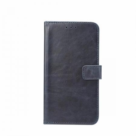 Crazy Horse Leather Flip Case Wallet Stand Card Holder for Samsung Galaxy S9 - Dark Blue
