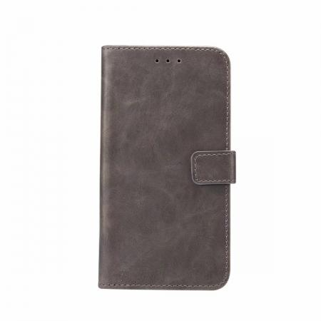 Crazy Horse Leather Flip Case Wallet Stand Card Holder for Samsung Galaxy S9 - Grey