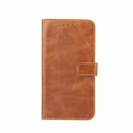 Crazy Horse Leather Flip Case Wallet Stand Card Holder for Samsung Galaxy S9 - Light Brown