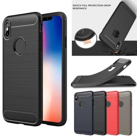 For iPhone XS Max Shockproof Soft TPU Carbon Fiber Phone Case