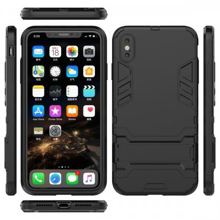 For iPhone XS Max XR XS Hybrid Heavy Armor Rugged Kickstand Hard Case Cover - Black