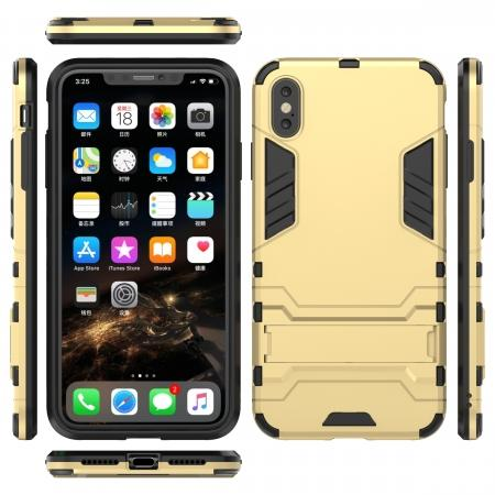 For iPhone XS Max XR XS Hybrid Heavy Armor Rugged Kickstand Hard Case Cover - Gold