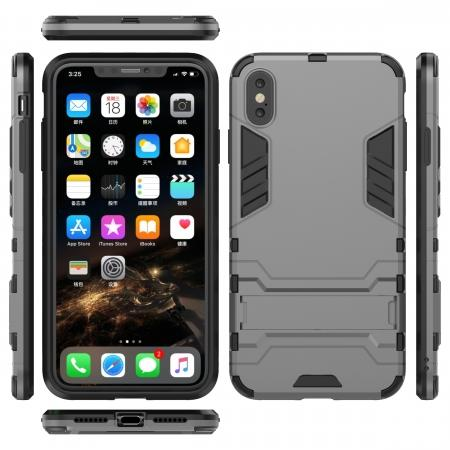 For iPhone XS Max XR XS Hybrid Heavy Armor Rugged Kickstand Hard Case Cover - Grey