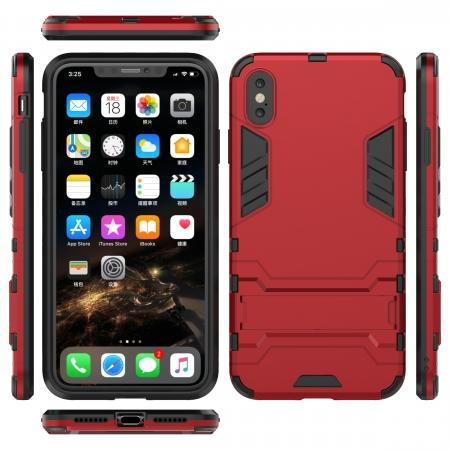For iPhone XS Max XR XS Hybrid Heavy Armor Rugged Kickstand Hard Case Cover - Red